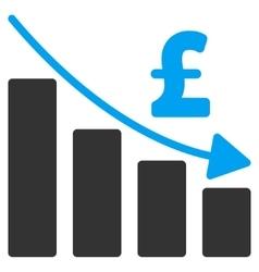 Pound Recession Bar Chart Flat Icon Symbol vector image