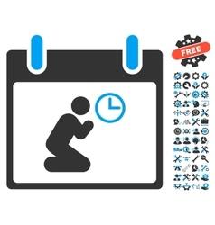 Pray time calendar day icon with bonus vector
