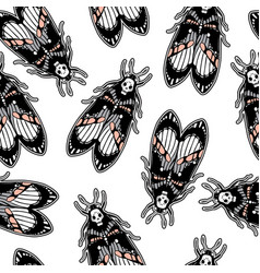 seamless pattern with moth dead head retro style vector image vector image