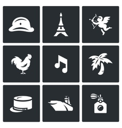 Set of france icons army paris eiffel vector