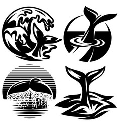 set of templates for logos with tails whale vector image vector image