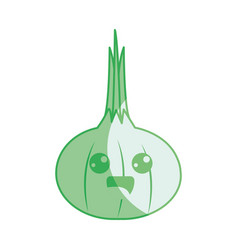 Silhouette kawaii cute happy onion vegetable vector