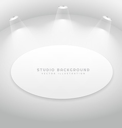 Studio room with oval picture frame vector