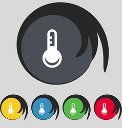 Thermometer temperature icon sign symbol on five vector