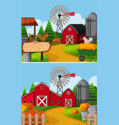 two farm scenes with barn and animals vector image
