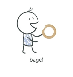 Cartoon guy eats a bagel vector