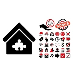 Puzzle building flat icon with bonus vector