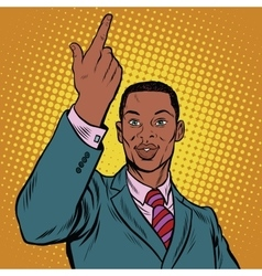African american businessman pointing finger up vector