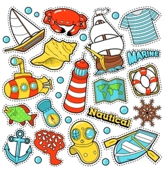 Nautical marine life stickers badges patches vector
