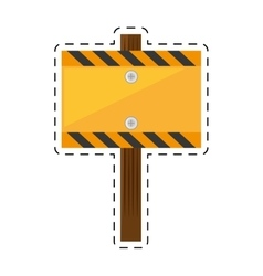Sign road rectangle caution yellow empty cut line vector