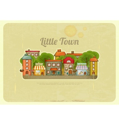 Little Town Retro Background vector image