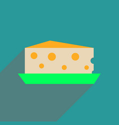 Flat web icon with long shadow cheese holland vector