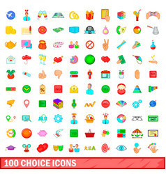 100 choice icons set cartoon style vector image