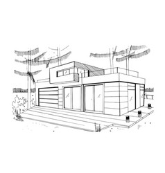 Modern private residential house hand drawn vector