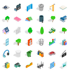 comfortable house icons set isometric style vector image