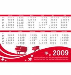 2009 calendar with cow vector image