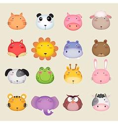 Cute cartoon animal head vector image
