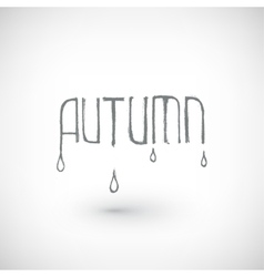 Hand drawn autumn word with drops vector image