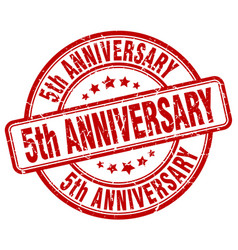 5th anniversary red grunge stamp vector