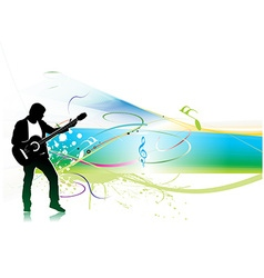 Silhouette music men play a guitar vector