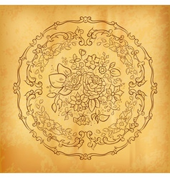 flower ornament on the old paper vector image