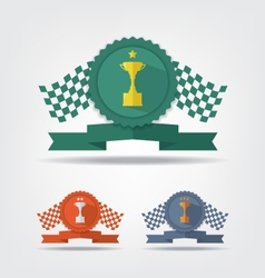 Trophy cup medals and flag vector