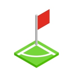 Corner of a soccer field isometric 3d icon vector