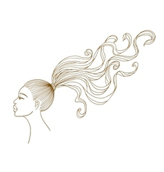 portrait of a black girl with long curly hair vector image