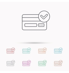 Approved credit card icon shopping sign vector