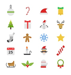 Christmas party flat color icons vector
