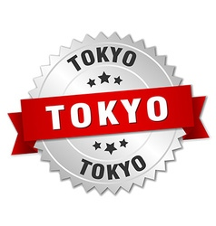 Tokyo round silver badge with red ribbon vector
