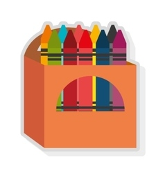 Colorful box and crayon set graphic vector