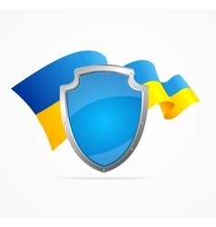 Ukraine Flag and Shield vector image