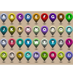 alphabet letters and numbers in the form of GPS vector image vector image