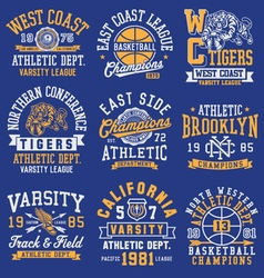 Athletic themed graphics emblems and layout set vector image