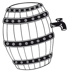 Barrel with beer vector
