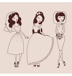 beautiful brides vector image vector image
