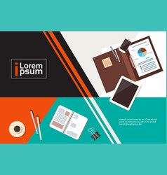 business workplace desk top angle view documents vector image