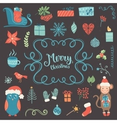 Christmas decoration collection vector image