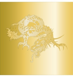 Dragon pattern embossed on a gold plate vector