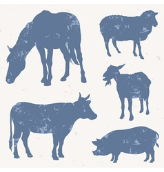 Farm animals with grunge effect vector