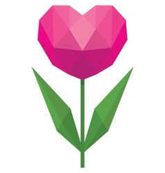 Flower in the form of heart in the style of low po vector