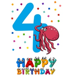 Fourth birthday cartoon card vector