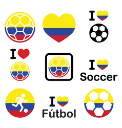 I love Colombian football soccer icons set vector image vector image