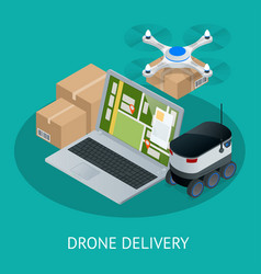 Isometric drone fast delivery of goods in the city vector