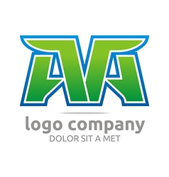 Logo letter a alphabet green company symbol icon vector