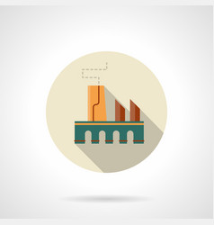 manufacturing factory flat round icon vector image