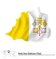 Map of Vatican with flag vector image