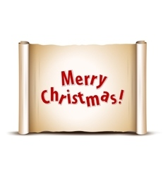 Merry Christmas greeting card on old scroll paper vector image vector image