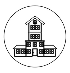 Monochrome contour circle of house with four vector